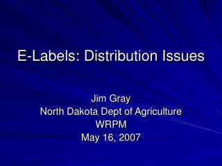 E-Labels: Distribution Issues