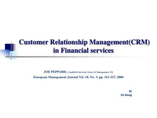 Customer Relationship Management(CRM)  in Financial services