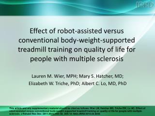 Lauren M. Wier, MPH; Mary S. Hatcher, MD;  Elizabeth W. Triche, PhD; Albert C. Lo, MD, PhD
