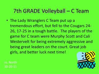 7th GRADE Volleyball – C Team