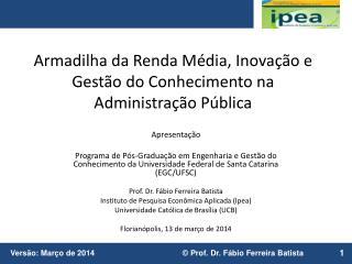 Armadilha da Renda Média, Inovação e Gestão do Conhecimento na Administração Pública