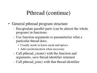 Pthread (continue)