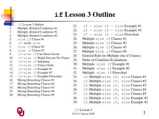 if  Lesson 3 Outline