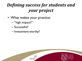 Defining success for students and your project