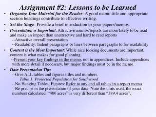 Assignment #2: Lessons to be Learned