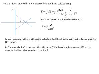For a uniform charged line, the electric field can be calculated using