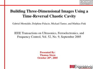 Building Three-Dimensional Images Using a Time-Reversal Chaotic Cavity
