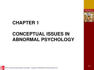 CHAPTER 1  CONCEPTUAL ISSUES IN ABNORMAL PSYCHOLOGY