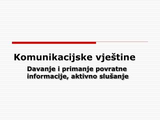 Komunikacijske vje�tine