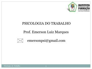 PSICOLOGIA DO TRABALHO Prof. Emerson Luiz Marques emersonpsi@gmail