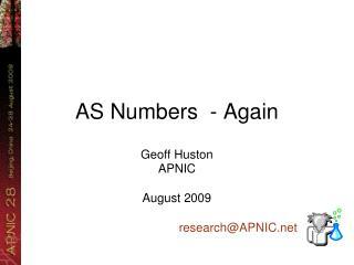 AS Numbers  - Again