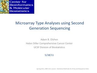 Microarray Type Analyses using Second Generation Sequencing