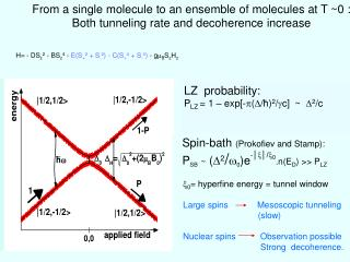 From a single molecule to an ensemble of molecules at T ~0 :