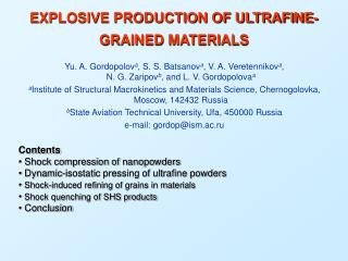 EXPLOSIVE PRODUCTION OF ULTRAFINE-GRAINED MATERIALS