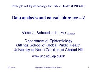 Data analysis and causal inference – 2