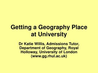 Getting a Geography Place at University