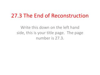 27.3 The End of Reconstruction