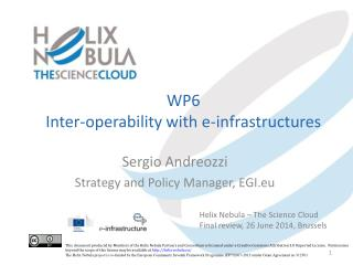 WP6 Inter -operability with e-infrastructures
