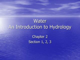 Water An Introduction to Hydrology
