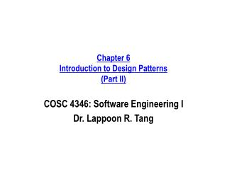 Chapter 6 Introduction to Design Patterns (Part II)