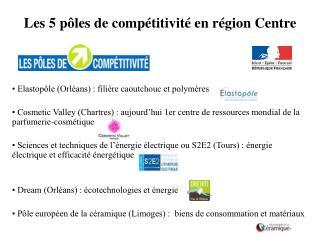 Les 5 pôles de compétitivité en région Centre