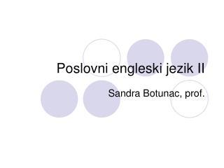 Poslovni engleski jezik II