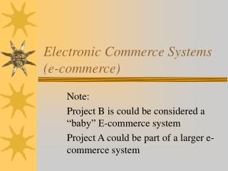 Electronic Commerce Systems e-commerce