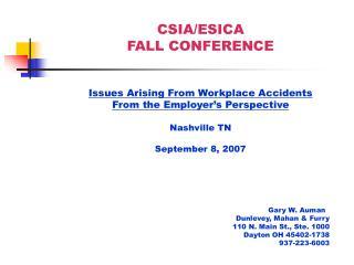 CSIA/ESICA FALL CONFERENCE