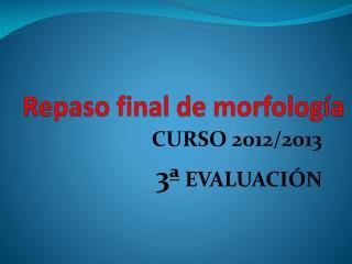 Repaso final de morfología