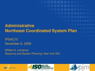 Administrative Northeast Coordinated System Plan