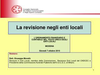 Relatore: Dott. Giuseppe Munafò