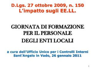 D.Lgs.  27 ottobre 2009, n. 150 L�impatto sugli EE.LL.
