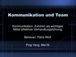 Kommunikation und Team