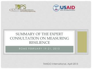 Summary of the Expert Consultation on Measuring Resilience