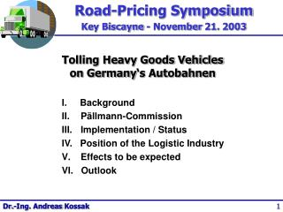 Tolling Heavy Goods Vehicles  on Germany's Autobahnen
