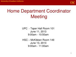 Home Department Coordinator Meeting