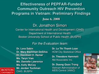 Dr. Jonathon Simon Center for International Health and Development (CIHD)