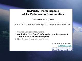 CAPCOA Health Impacts  of Air Pollution on Communities September 19-20, 2007