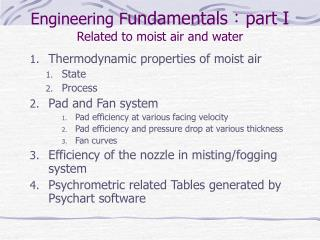 Engineering F undamentals:part I Related to moist air and water