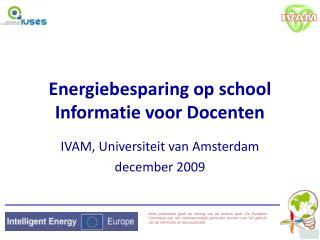 Energiebesparing op school  Informatie voor Docenten