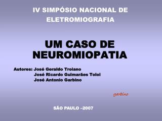 IV SIMPÓSIO NACIONAL DE ELETROMIOGRAFIA