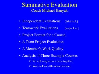 Summative Evaluation
