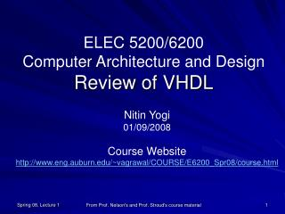 ELEC 5200/6200  Computer Architecture and Design Review of VHDL