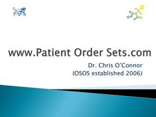Patient Order Sets