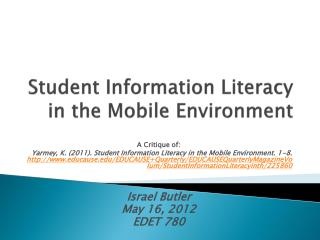 Student Information Literacy in the Mobile Environment
