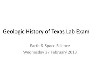 Geologic History of Texas Lab Exam