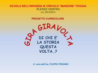 """SCUOLA DELL'INFANZIA IX CIRCOLO """"MANZONI"""" FOGGIA PLESSO CENTRO a.s.  2012/2013"""