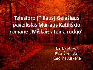 """Telesforo (Tiliaus) Gelažiaus  paveikslas Mariaus Katili škio romane  """" Miškais ateina ruduo"""""""