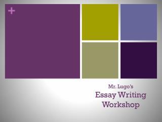 Mr. Lugo�s Essay Writing  Workshop