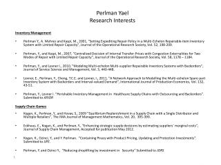 Perlman Yael Research Interests